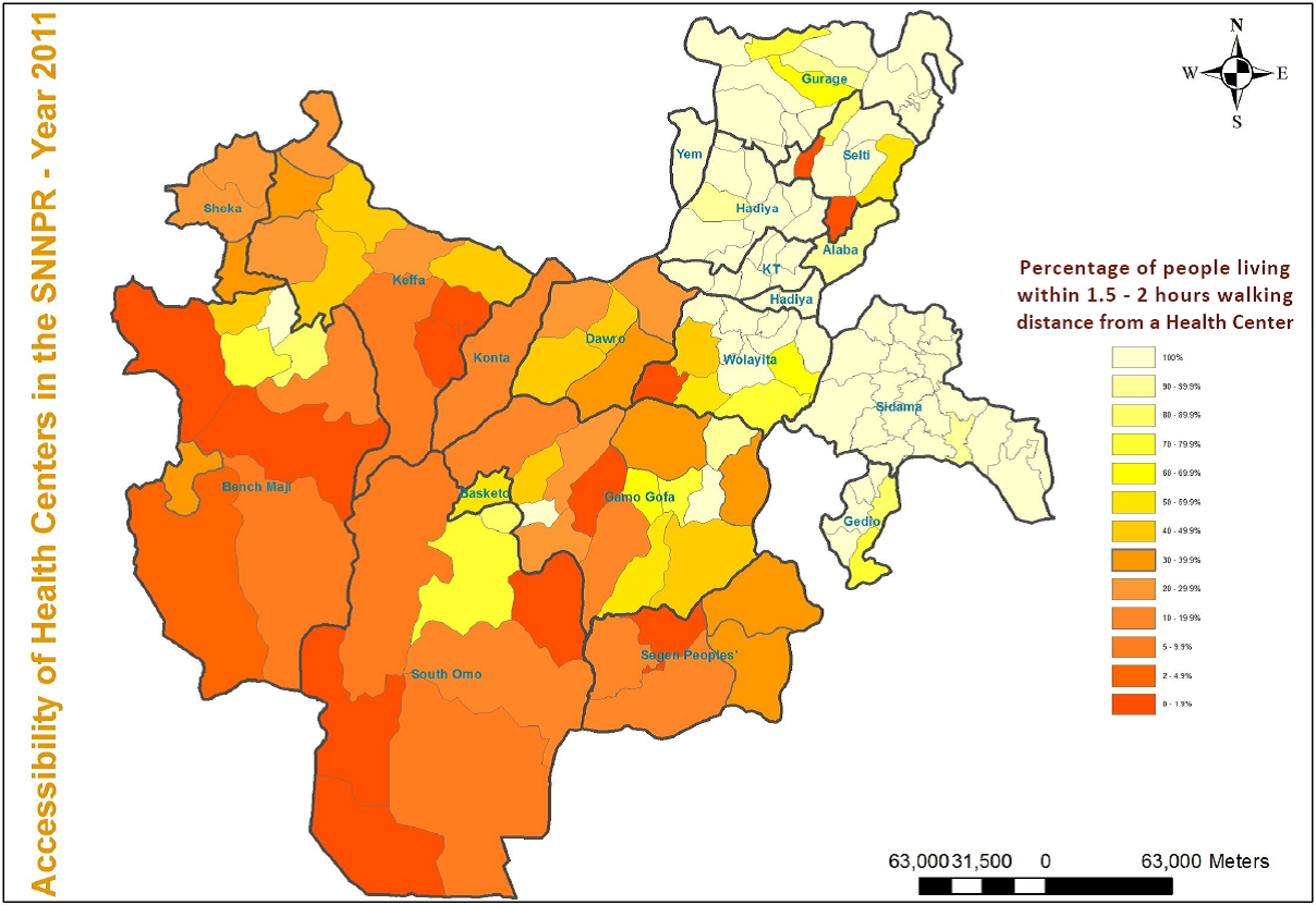 Access to Health Centers within 10 Km - ligh yellow = good / orange-red = very bad