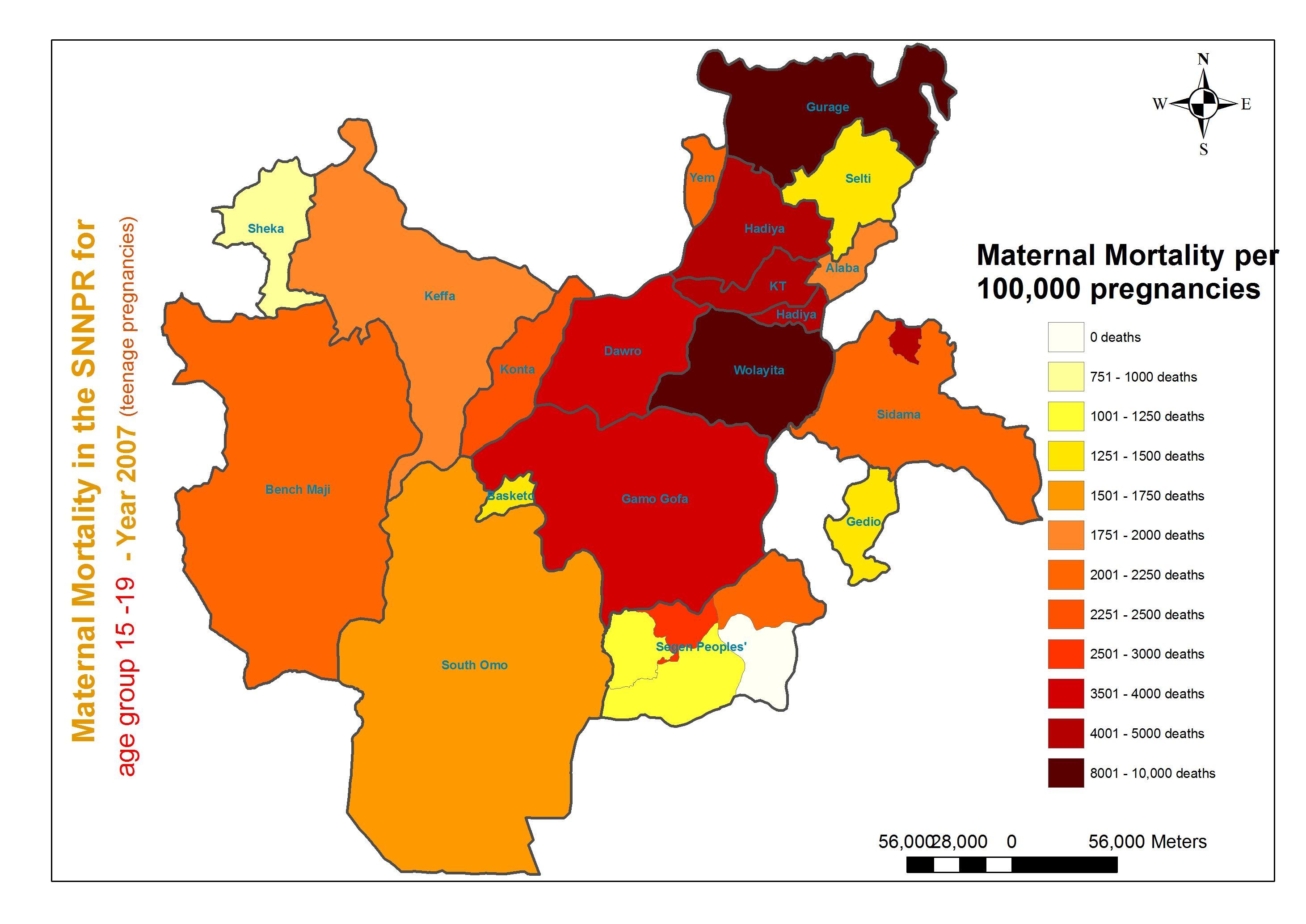 Moedersterfte in de SNNPR - 2007 - voor leeftijdsgroep 15 - 19 jaar | Tienerzwangerschappen