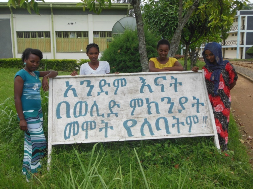Students in front of their class room and besides a bill board that reflects their profession in Amharic, an English equivalent of which states