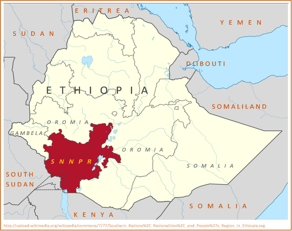 Map of Ethiopia and the Southern State SNNPR